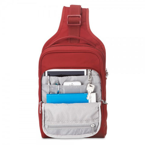 Pacsafe Metrosafe LS150 Anti-Theft Sling Backpack - Vintage Red - oribags2 - 1