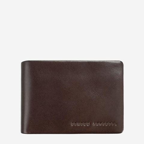 Status Anxiety Men Leather Wallet Jonah - Chocolate