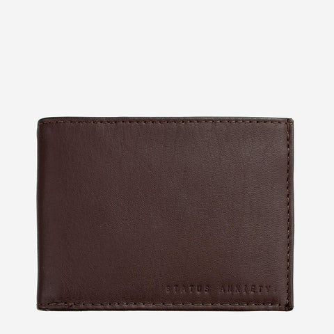 Status Anxiety Men Leather Wallet Noah - Chocolate