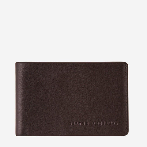 Status Anxiety Men Leather Wallet Quinton - Chocolate
