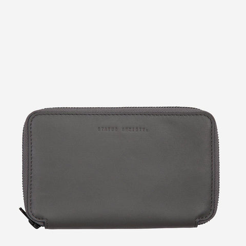 Status Anxiety Men Leather Travel Wallet Vow - Slate
