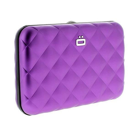 Ogon Quilted Button Card Holder RFID Safe - Purple