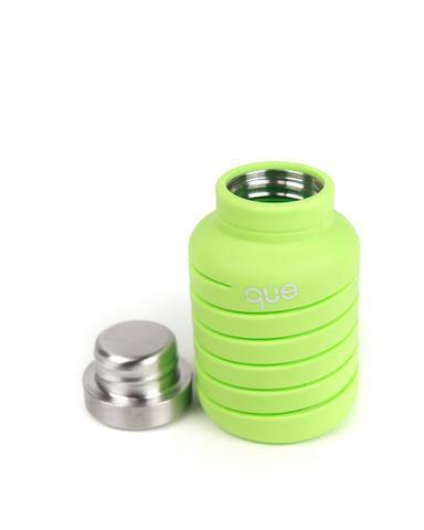Que Bottle Perfect Travel Bottle (Collapsible to Half Size)  600ml - Green