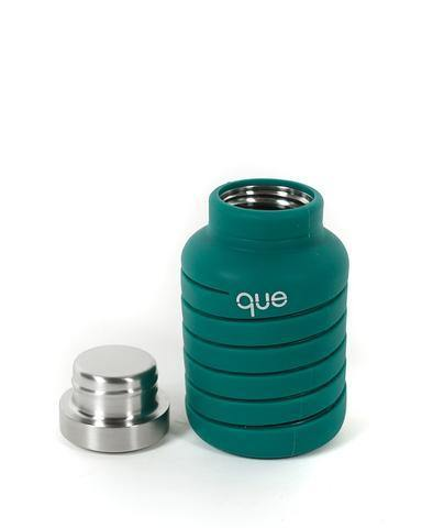 Que Bottle Perfect Travel Bottle (Collapsible to Half Size)  600ml - Forest Green - Oribags.com