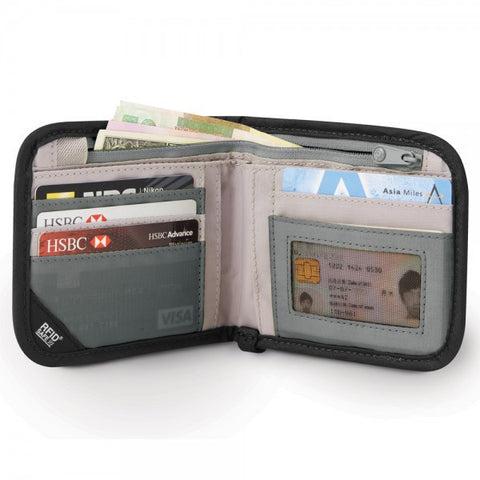 Pacsafe RFIDsafe V100 RFID Blocking Bi-Fold Wallet - Black - oribags2 - 1