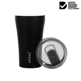 Sttoke Ceramic Reusable Double Wall Insulation Cup 12oz - Luxe Black ( ETA Feb 2021 )
