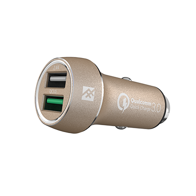 IFROGZ Unique Sync Premium Dual 2.4 USB Car Charger with Quick Charge 3.0 - Gold