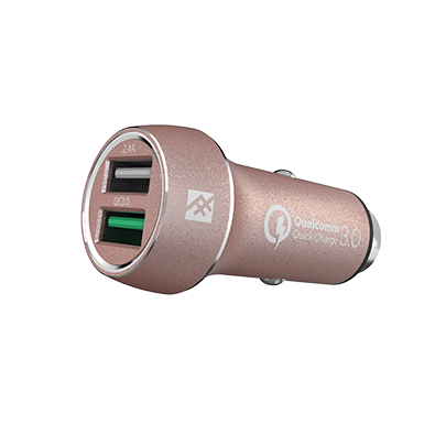 IFROGZ Unique Sync Premium Dual 2.4 USB Car Charger with Quick Charge 3.0 - Rose Gold