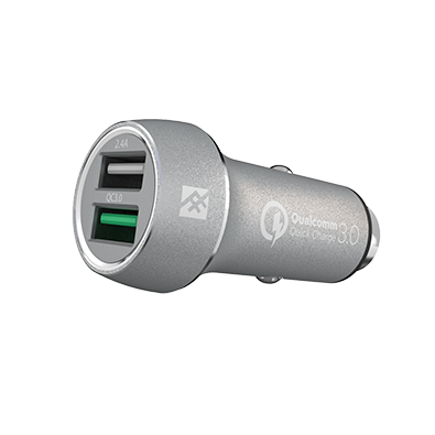 IFROGZ Unique Sync Premium Dual 2.4 USB Car Charger with Quick Charge 3.0 - Silver