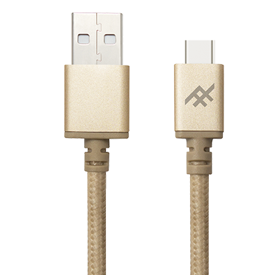 IFROGZ Unique Sync Premium Nylon Braided Cable & Aluminium Connectors USB A To USB C Cable 1m - Gold