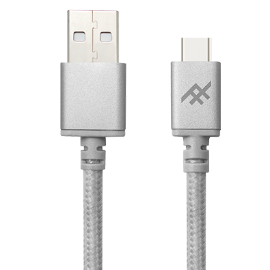 IFROGZ Unique Sync Premium Nylon Braided Cable & Aluminium Connectors USB A To USB C Cable 1m - Silver - Oribags.com