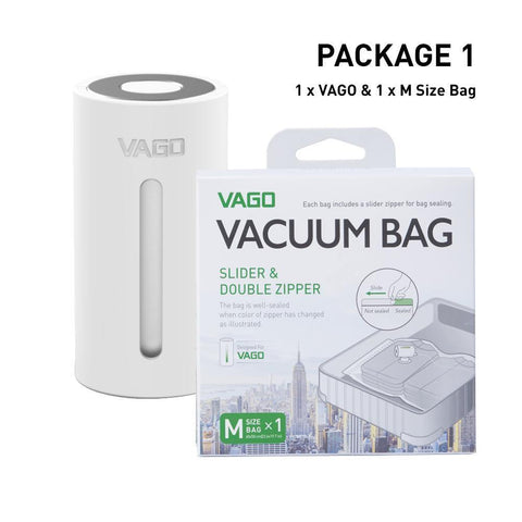 Vago Travel Vacuum Compressor ( Free 1pc M Size Vacuum Bag ) - White