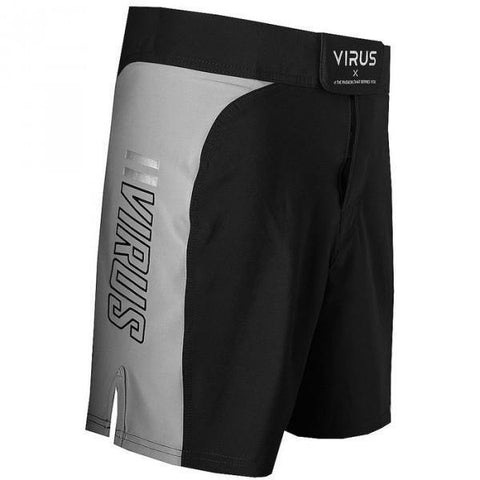VIRUS DISASTER COMBAT SHORTS - BLACK BODY WITH GREY PANEL - MMAoutfit - 1