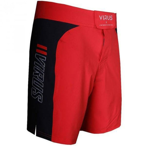 VIRUS DISASTER COMBAT SHORTS - RED BODY WITH BLACK PANEL - MMAoutfit - 1