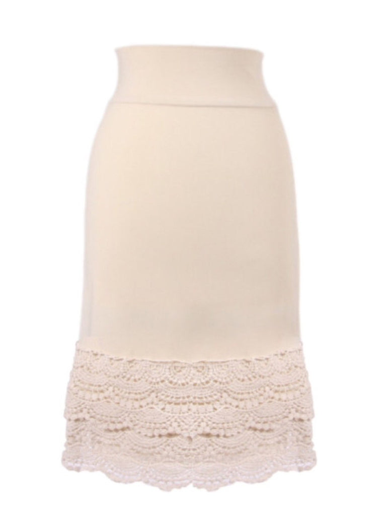 Snap Dragon Crochet Skirt Extender Cream Lively Flair Boutique