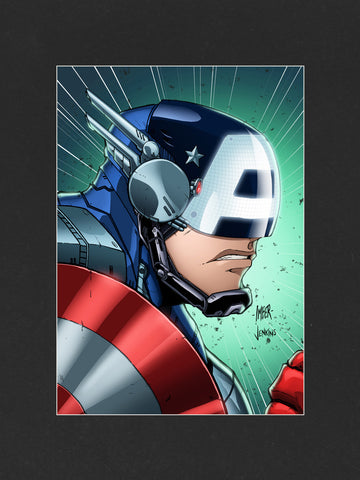 Captain America Mech Mounted Print