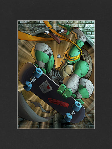TMNT Michelangelo XL Mounted Print