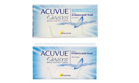 2-weeks Acuvue Oasys 1 Eye with Astigmatism, 1 without