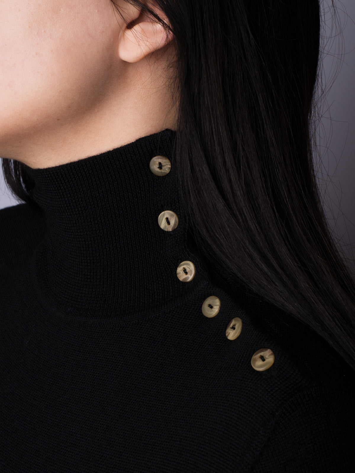 Button Neck Jumper - Black