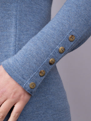 Button Neck Jumper - Petrol