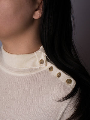 Button Neck Jumper - Cream