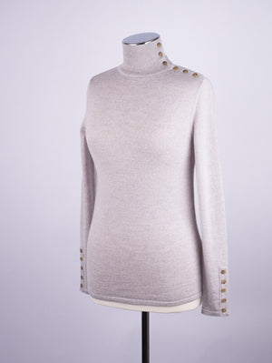 Button Neck Jumper - Silver Grey