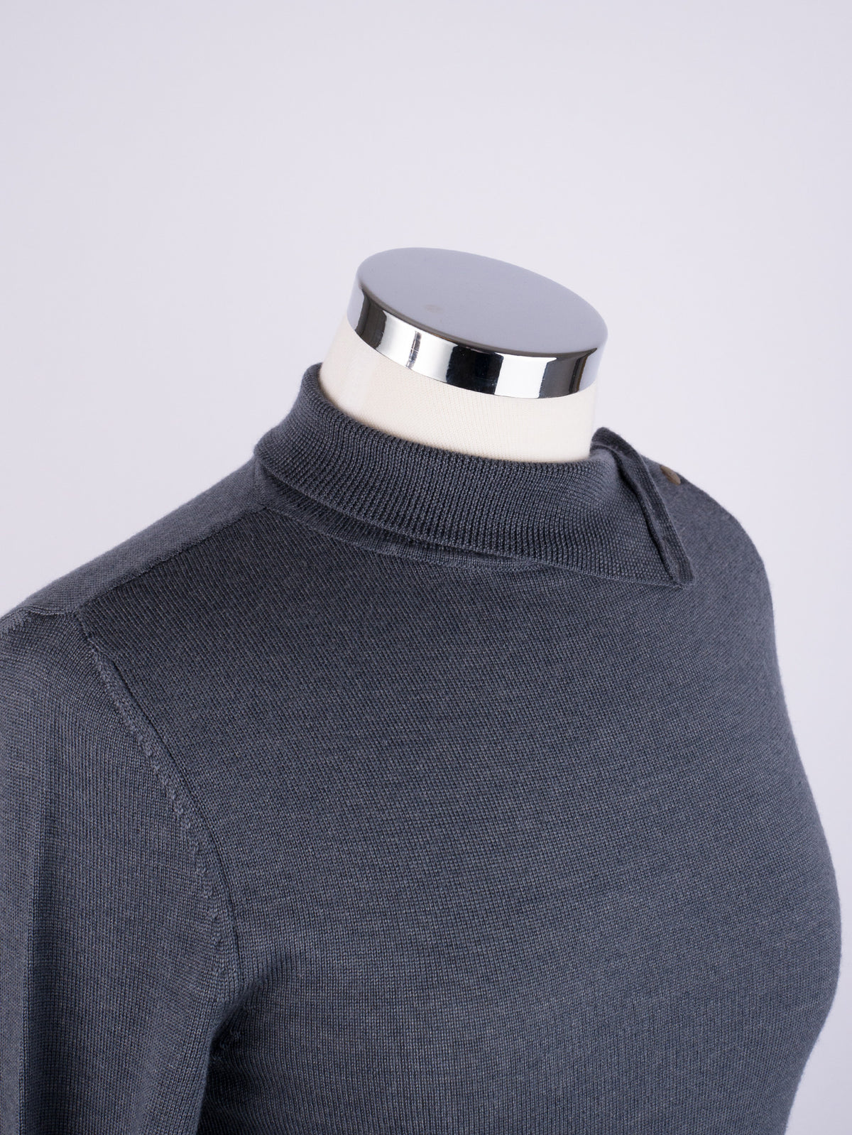 Button Neck Jumper - Slate