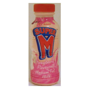 Clover Super M Strawberry Milk Bottle 300ml - BalmoralOnline - Groceries