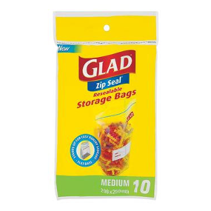 Glad Zip Seal Storage Bags Medium 10 Bags - BalmoralOnline - Household