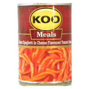 Koo Meals Short Spaghetti In Cheese Flavoured Tomato Sauce 410g Can - BalmoralOnline - Groceries