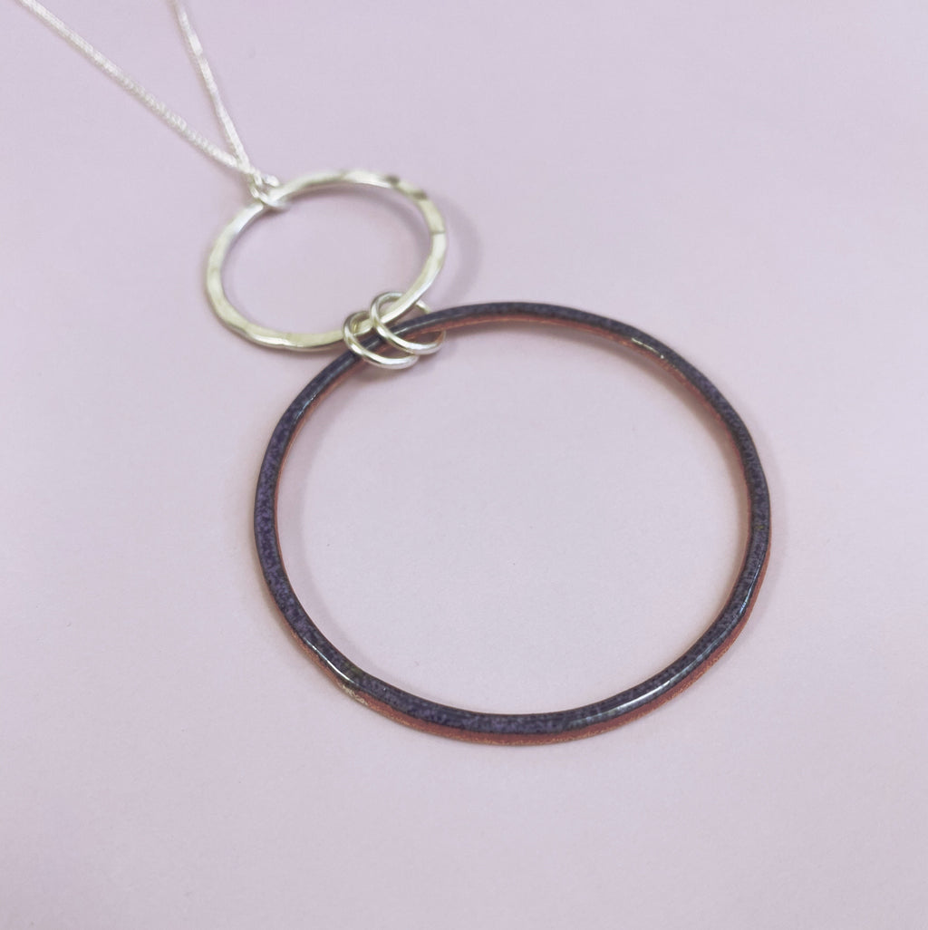 Purple Drop Hoop Pendant