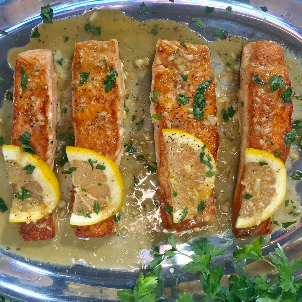 Pan Seared Lemon Garlic Bone Broth Salmon