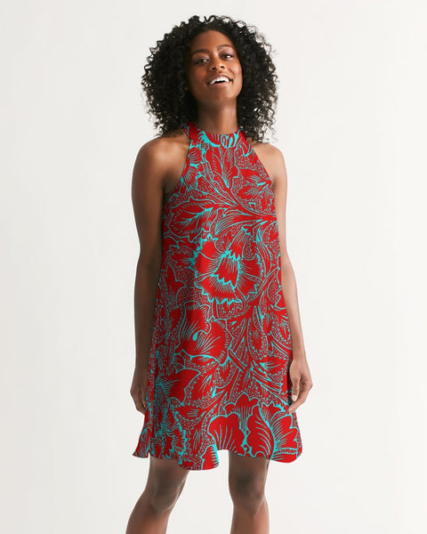 Red Blue Floral Women's Halter Dress