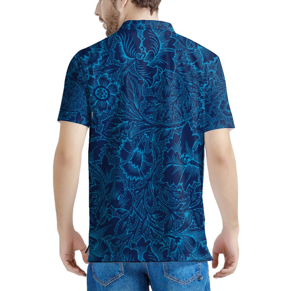 Blue Floral Print Polo