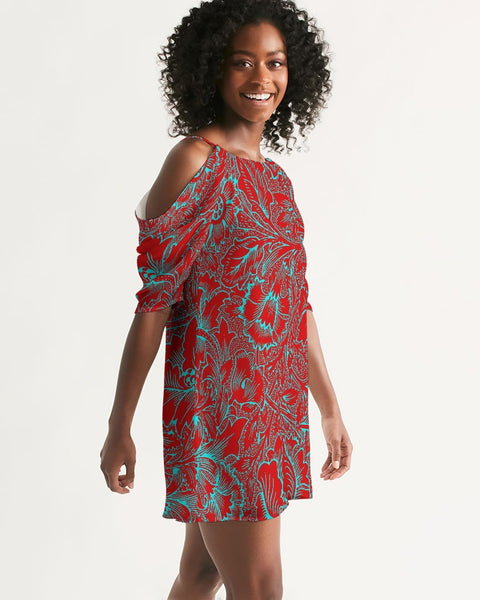 Red Blue Floral Women's Open Shoulder A-Line Dress