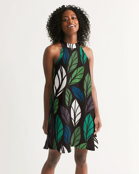 Dark Tropics Women's Halter Dress