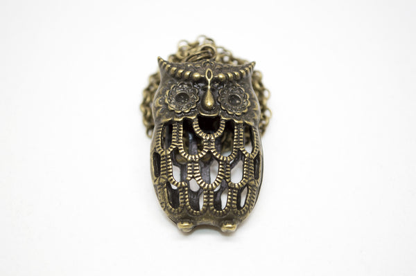 Antique Brass Owl Necklace