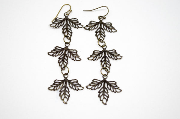 Antiqued Bronze Three Leaf Earrings
