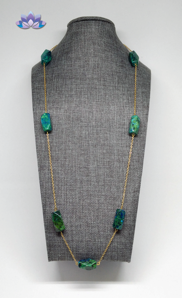 Azurite and Chrysocolla Necklace on Chain