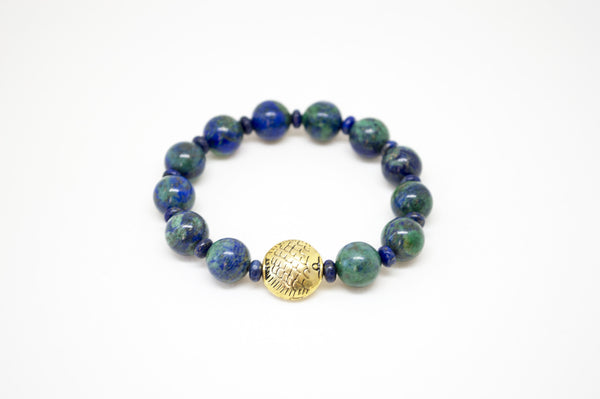Azurite Malachite Infinity Bracelet with Lapis Roundels and Bronze Fish - 10mm