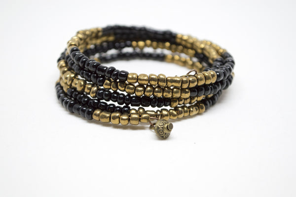 Onyx and Bronze Wraparound Bracelet