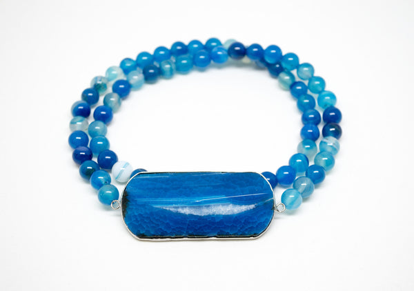 Blue Striped Agate with Blue Geode