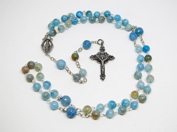 Blue Quartz Rosary with Silver Chain