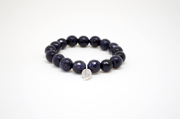 Blue Sandstone Infinity Bracelet with Silver Leaf - 10mm