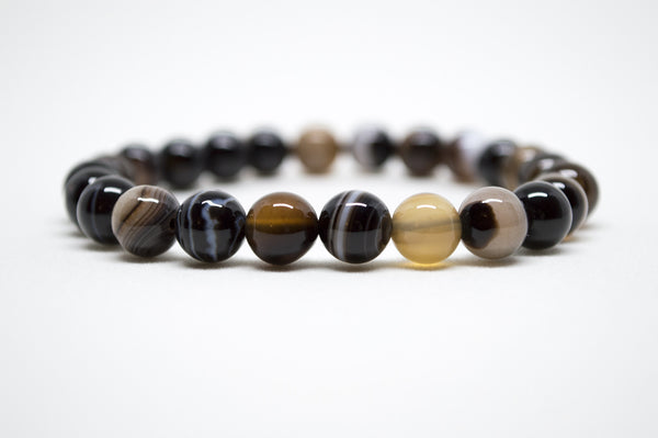 Brown Striped Agate Infinity Bracelet - 8mm