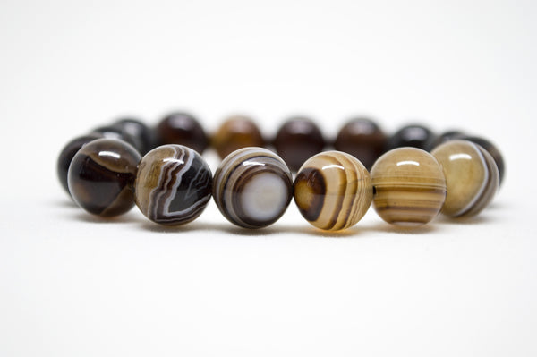 Brown Striped Agate Infinity Bracelet