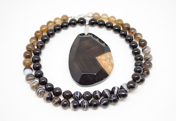 Coffee Agate with Faceted Agate Pendant