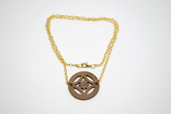 Wooden Medallion with Brass Chain