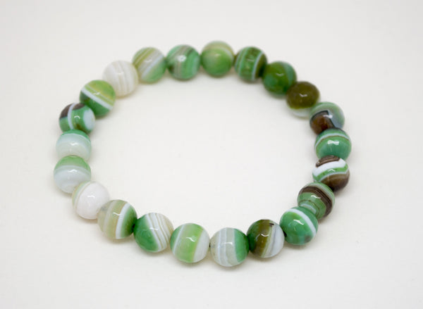 Green Striped Agate Infinity Bracelet - 8mm