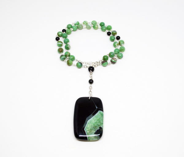 Green Agate Necklace with Silver Chain and Geode Pendant